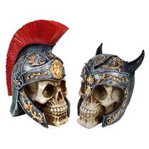 Soldado Romano E Soldado Medieval C/ Capacete 2 Pçs Resina