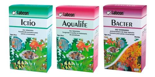 Labcon Kit Medicamento P/ Aquário Ictio Aqualife Bacter Full