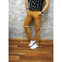 Calça Jeans Sarja Masculina Slim Fit Skinny Colorida