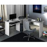 Mesa Para Escritório Em L 1 Gaveta Max Zanzini Branco Gf