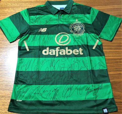 Camisa Glasgow Celtic Autografada Elenco 2017 18 2fae74397340d