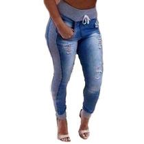 Calça Feminina Jeans Com Lateral De Moletom