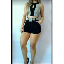Top Cropped Blusa E Saia Curto C/ Cinto Lindo #cj1 Blogueira