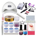 Kit Unhas Gel Manicure Completo Cabine 48w Led Alongamento