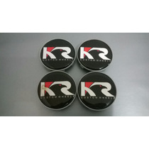 Calota Kr Wheels Preta Para Rodas Esportivas 58mm