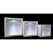 Trio Nicho Quadrado Simp Branco C/led + 9 Pilhas Gratis Mdf