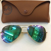 Óculos Rayban Ray Ban Aviador 3026 Espelhadas Verde Original