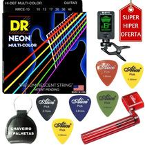 Acessórios A01 + Jogo De Cordas Guitarra Dr Color 010 Nmce10