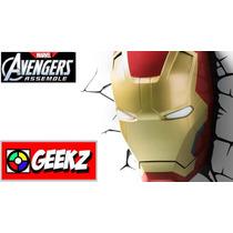 Luminaria 3d Light Fx Máscara Homem De Ferro Avengers Ass...