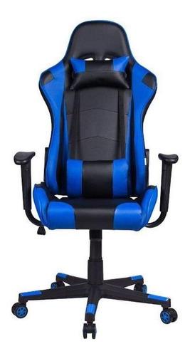 Cadeira De Escritório Pelegrin 3012 Ergonômica Preta E Azul Con Estofado Do Couro Sintético