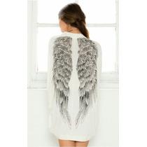 Kimono Feminino Branco Asas De Anjo - Veste P, M E G