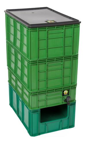 Composteira Doméstica 50 Litros + Minhocas + Suporte S/rodas
