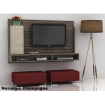 Painel Home Theater Tv 32 Cinza 2 Nichos Escuro Gb Madeira
