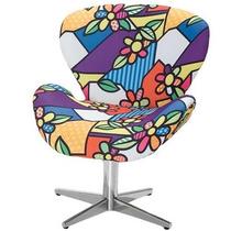 Cadeira Decorativa Giratoria Sala Estar Romero Britto Swan