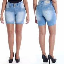 Sawary Bermuda Jeans Levanta Bumbum Cintura Média
