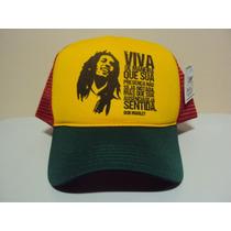 Boné Bob Marley Reggae Frases Trucker Snapback