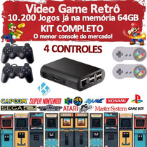 Video Game Retrô + Kodi + 10.000 Jogos + 4 Controles + 64gb