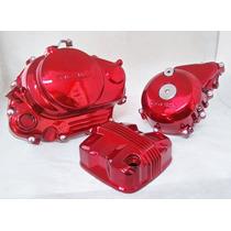 Jogo De Tampas Do Motor Cromadas Vermelha Da Cg 150