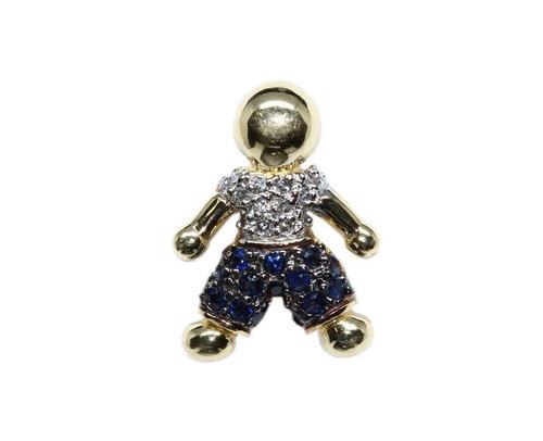 9c36bccd4d Pingente Menino Ouro 18k Diamantes E Safiras