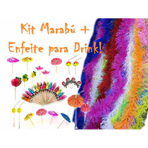 Kit Festa - 10 Marabú Pluma C/ Brilho + 12 Enfeite P/ Drink
