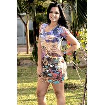 Vestido Curto Panicat Tubinho T-shirt Colado Etnico Mickey