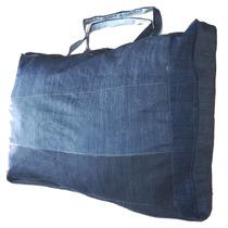 Sacolão Em Retalhos De Jeans Reforçado 105 Litros + Brinde