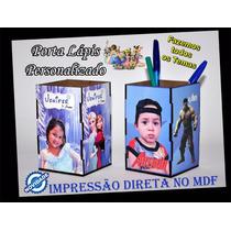 Lembrancinha 10 Porta Lápis Personalizado Foto Tema Em Mdf