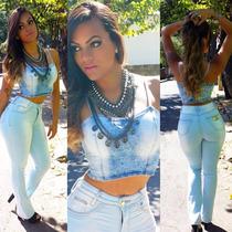 Calça Jeans Flare Cintura Alta Cós Alto Juju Panicat Linda