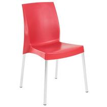 Cadeira Polipropileno Vermelha Empilhável Pés Em Alumínio