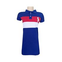 Vestido Polo Ralph Lauren Azul Royal, Vermelho E Branco