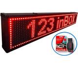 Letreiro Digital Painel Led Vermelho Luminoso 1,00x0,20m Usb