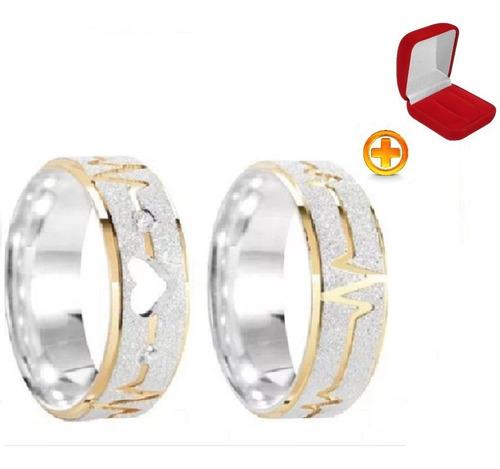 Par Aliança Prata Namoro Coração Vazado Ouro
