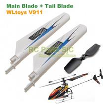 Blades + Tail Blade Helicóptero V911 Hélice Rotor Pás Cauda