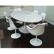 Mesa Saarinen 1.70 X 1.00+6 Cadeiras Sem Braço Couro Natural