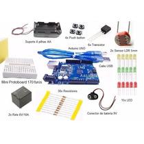 Kit Arduino Uno + Miniprotoboard 64 Componentes Eletrônicos