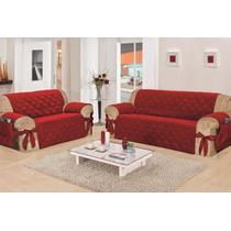Protetor De Sofá Conjunto 2 E 3 Lugares Vermelha C / Laços