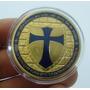 A72 Moeda/medalha Cavaleiros Templários 40mm Dourada/azul