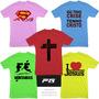 Kit 5 Camisetas Coloridas Tema Gospel Evangélicos Cristão