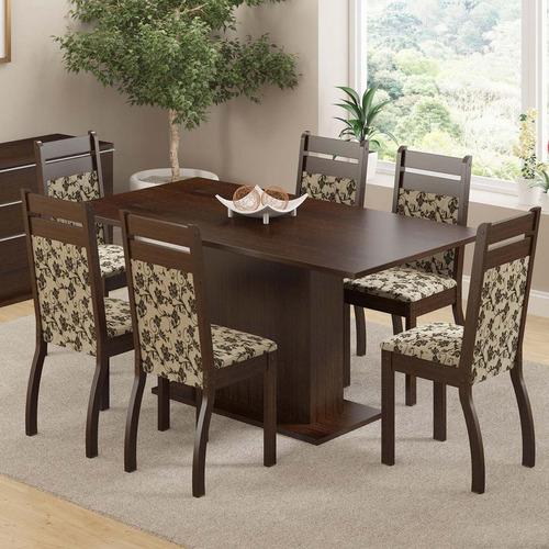 Conjunto Sala De Jantar Mesa E 6 Cadeiras Versalhes Madesa