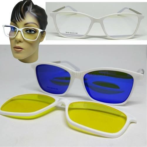 Armação Oculos Grau Clip On 3em1 Polarizado Acetato Feminino fe0fc25df3