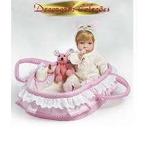 * Molly Boneca Bebê Parece Real Tipo Reborn C/ Enxoval Cesto