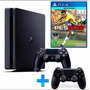 Playstation 4 Slim Ps4 500gb Pes2018 Bluray Com 2 Controles