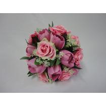 Buquê / Bouquet De Noiva Flores Rosas Artificiais Cb001m