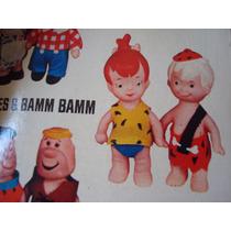 2 Bonequinhos Borracha Anos 70 Bambam Pedrita Flintstones Tv