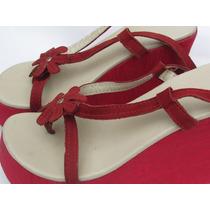 Tamanco Sunshine Shoes Salto Vermelho Anabela Detalhe Flor