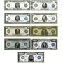 9 Réplicas Cédulas De Dólares - Selo Azul - De 1914 Á 1918