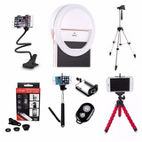 Luz Selfie Anel Led Flash Celular + Kit Youtuber Tripé 1,20m