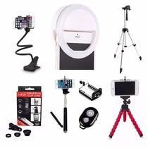 Luz Selfie Anel Led Flash Celular + Kit Youtuber Tripé 1,20m