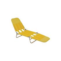 Cadeira Espreguiçadeira Praia Piscina Aço E Pvc Amarela Mor
