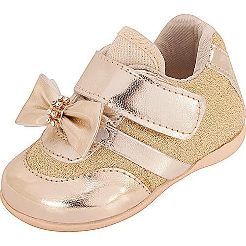 fd6d9db428 Tênis Infantil Bebê Plis Calçados Dourado 1160